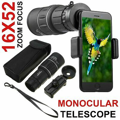 16X52 HD Optical Dual Focus Monocular Day/Night Vision Camping Hiking Telescope