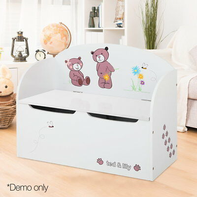 Kids Toy Box Bench Seat Storage Safe Lid Wooden Cabinet Bedroom Furniture Chair