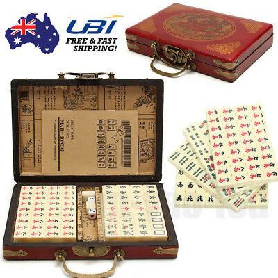 Traditional Chinese Mahjong Vintage Collection Table Playing Game Set AU Stock