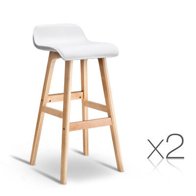 Pair of Barstools PU-Leather Wood Bar Stool Entertainment Furniture NEW- White