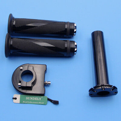 Black Aluminum 22mm Motorcycle Handle Bar Throttle Twist Tube Rubber Hand Grip