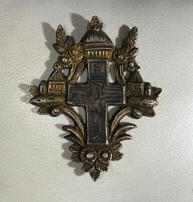 Antique   Byzantine or  Medieval   Silver/Niello and Gold Plated Cross  #926