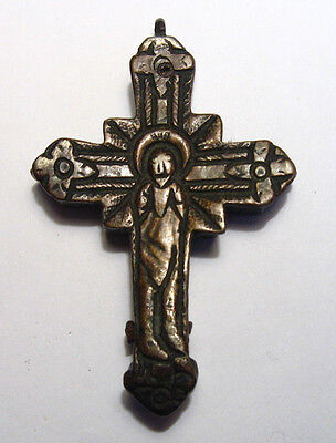 ANTIQUE LATE SILVER BYZANTINE or MEDIEVAL DOUBLE SIDED CROSS /kv