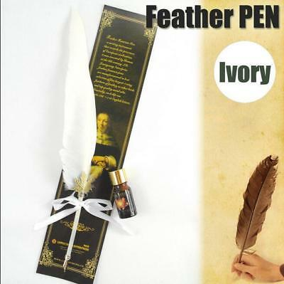 White Antique  Big Size Dip Pen Goose Quill Feather and Ink bottle Quill AU