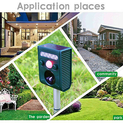 Ultrasonic Bird & Animal Repeller Pest Repellent with Large Solar Power Plate RO