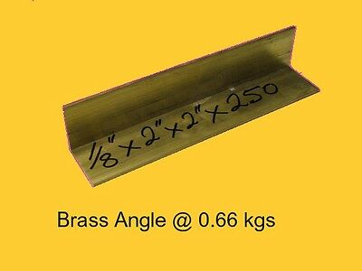 "Brass Angle 1/8"" x 2"" x 2"" x 250 mm-Lathe-Weld-Steam-Mill"