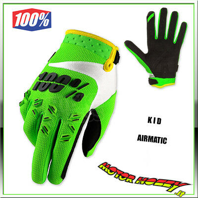 Guanto Bambino Kid Glove Cross Enduro Mtb 100 % Airmatic Lime Green Taglia M