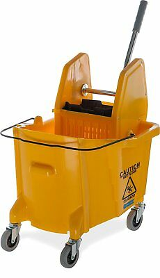 Carlisle 3690504 Commercial Mop Bucket With Down Press Wringer, 35 Quart Yellow