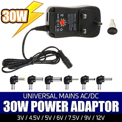 3V/4.5V/5V/6V/7.5V/9V/12V 30W Universal AC-DC Adaptor UK Power Supply + 6 Tips