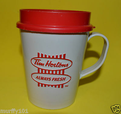 Vintage Tim Hortons ''Always Fresh'' White & Red Coffee Travel Mug w/ Lid