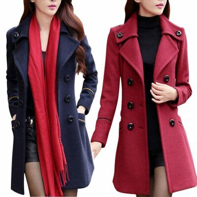 Women Outwear Double Breasted Trench Coat Slim Fitted Long Jacket Warm Overcoat