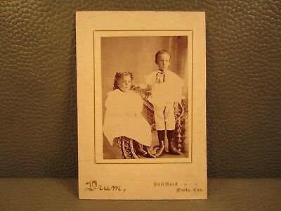 Victorian Antique Cabinet Card Photo of Brother and Sister Kids Children