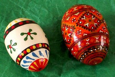 colorful Polish hand painted wooden eggs - pair