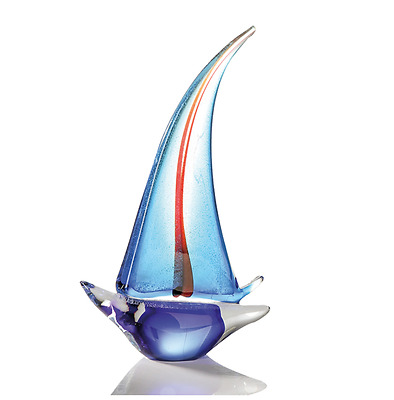 HUGE 32cm Murano Italian Art Glass Style Sail Boat Abstract Sculpture