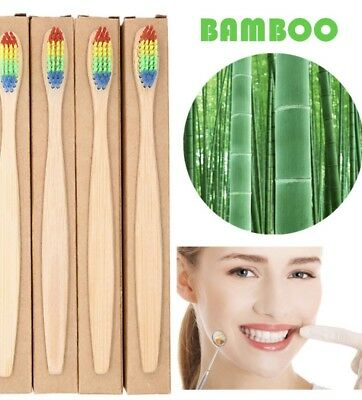 100% Natural Bamboo/wooden Rainbow Toothbrush Eco Friendly Biodegradable