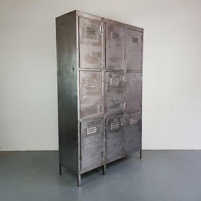 Vintage Industrial Stripped Metal 9 Compartment Cabinet Chest Locker #2319
