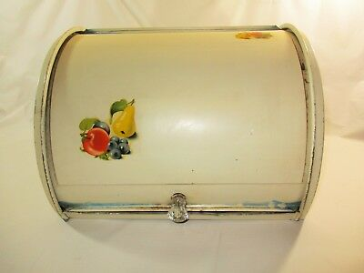 Vtg. Metal Fruit Decoration Off-White Roll Top Clear Knob Kitchen Bread Box