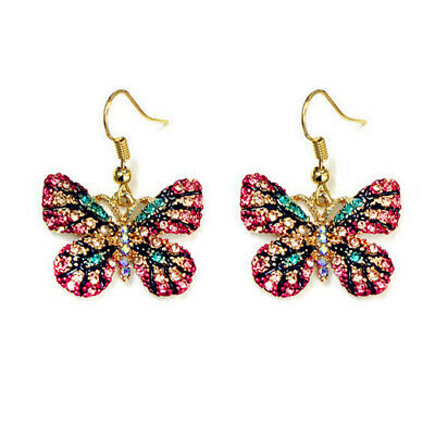 Betsey Johnson Pink Crystal Rhinestone Butterfly Dangle Hoop Earrings for Women