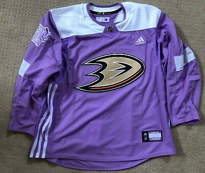 differently 56c2d 3b728 ANAHEIM DUCKS AUTHENTIC Adidas Hockey Fights Cancer Jersey