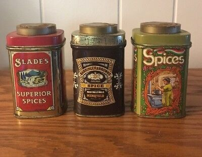 Lot Of 3 Vintage Spice Tin Slade's Superior Spices  Barringer Made in England.