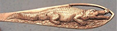 "RARE c.1893 FULL ""CROCODILE"" HANDLE 5 5/8"" STERLING SILVER EARLY FLORIDA SPOON"