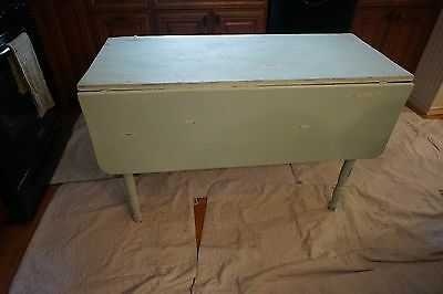 Vintage Shabby Green Dining Table Or Kitchen Drop Leaf Table  Farm Table
