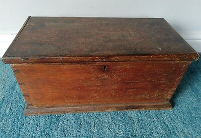 Antique Pine Small Chest/ Trunk/ Blanket Box.