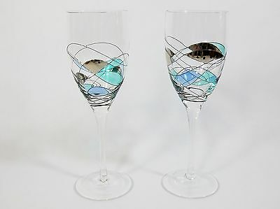 Partylite Mosaic -2 Wine Glasses Or Candle Holders Goblets Stained Glass Retired