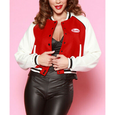 Bettie Page Betty Letterman Jacket Red White Patch Long Sleeve Varsity Coat 6