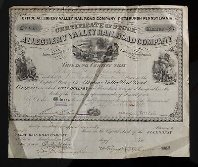 1891 Stock Certificate Allegheny Valley Rail Road Company Pittsburgh PA