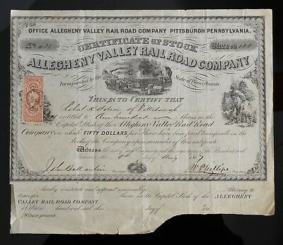 1869 Stock Certificate Allegheny Valley Rail Road Company Pittsburgh PA
