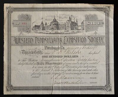 1889 S.S. MARVIN founder of Nabisco Donation certificate W PA Exposition Society