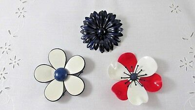 Vintage Enamel Flower Pins Brooches Lot of 3 Red White Blue Flower Power