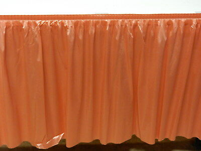 "Poly Sateen Table Skirt - Velcro Backing Peach Color 29"" High x 12' Long IFR"