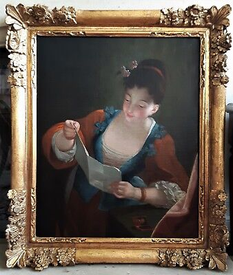 Very Fine 18Th Century French Masterpiece Oil On Canvas Portrait Of A Lady