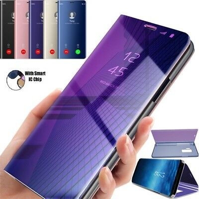 For Samsung Galaxy S7 S8 S9 Plus Smart View Mirror Leather Flip Stand Case Cover