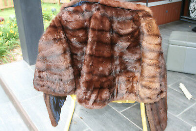 Vintage Dark Brown Perfect Condition Mink Fur Lined Stole Leppert Roos St. Louis