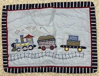 Pottery Barn Baby Logan Train Crib Travel Hand Quilted Sham Small New 12 x 16""