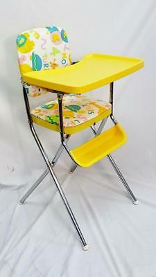 Groovy Vintage Retro Cosco Yellow Folding Animal Print High Chair Beatyapartments Chair Design Images Beatyapartmentscom
