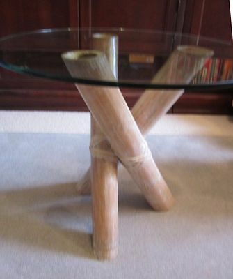 VINTAGE RATTAN BAMBOO Wicker Tempered Glass Top Coffee Table End - Bamboo end table glass top