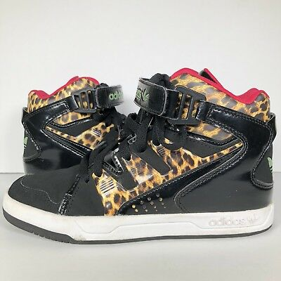 d6884fcac36850 Adidas Womens 6.5 MC-X1 Leopard Sneakers Shoes Black Animal Print World  Famous