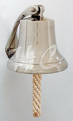 Aluminium Brush Finish School Dinner Nautical Ship Bell Wth Wall Hanging Bracket