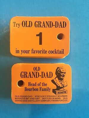 Vintage Old Grand Dad Kentucky Straight Bourbon Coat Check Tag Tickets #1-100