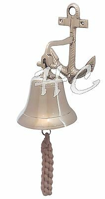 Vintage Brass Bell Nickil Finish With Nautical Brass Anchor Ship Boat Wall Mount