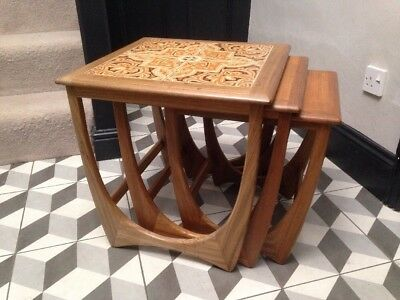 Vintage G-Plan Nest Of Three Tables - Largest Tile-toped 50x50x51cm