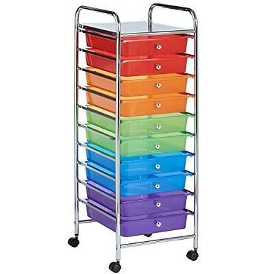 VonHaus 10 Drawer Multi-Coloured Mobile Storage Trolley for Home & Office