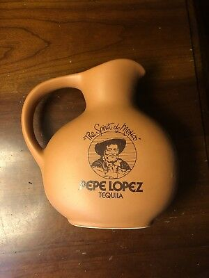 "Pepe Lopez Tequila 8"" Clay Bar Water Pitcher ""The Spirit of Mexico"""