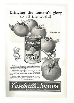 Old Magazine Print Ad CAMPBELL'S TOMATO SOUP 1925 B & W 6 1/2W X 10H Good
