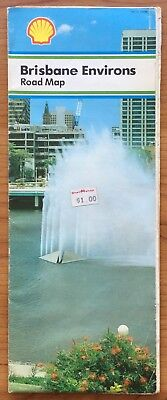 Shell Collectable Vintage Rare Brisbane Environs Road Map 1982-1983