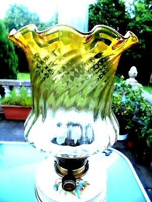 British Quality Golden Amber Crystal Glass Duplex Oil Lamp Shade.